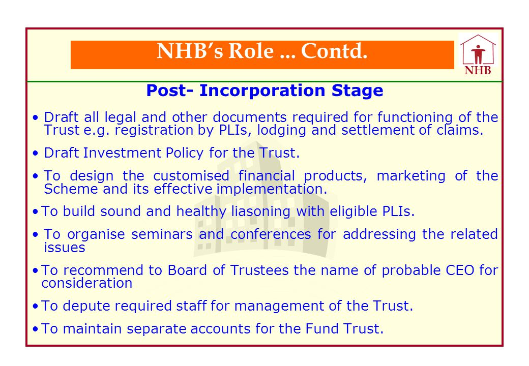 Post- Incorporation Stage