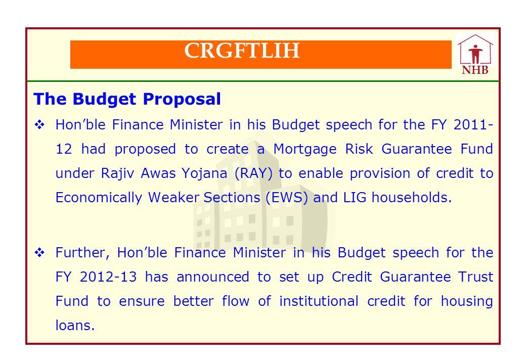 CRGFTLIH The Budget Proposal