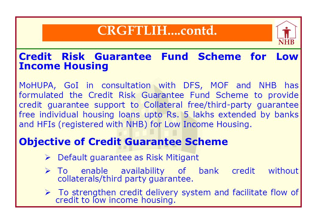 CRGFTLIH....contd. Credit Risk Guarantee Fund Scheme for Low Income Housing.