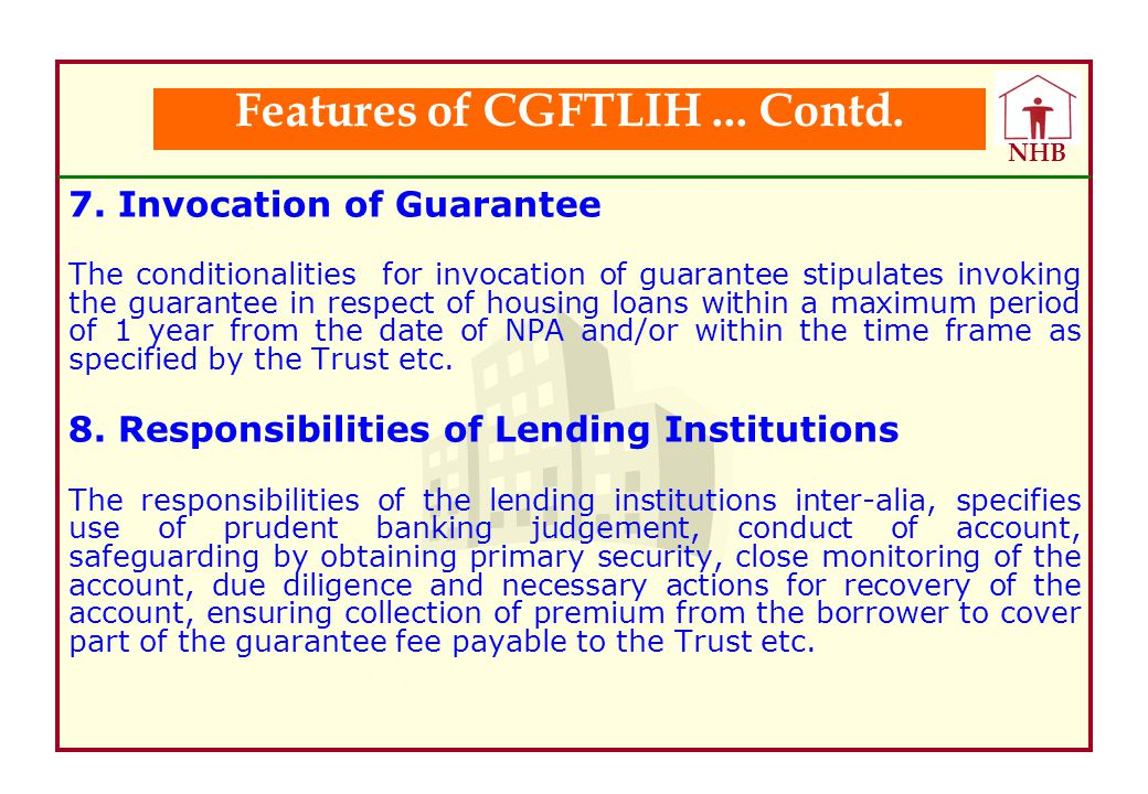 Features of CGFTLIH ... Contd.