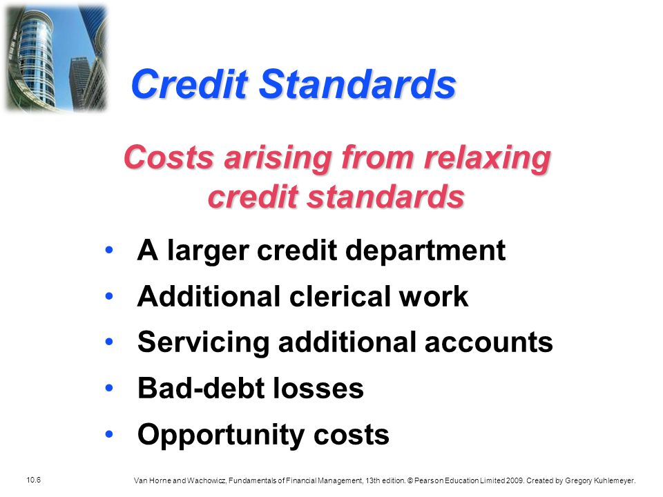 Costs arising from relaxing credit standards
