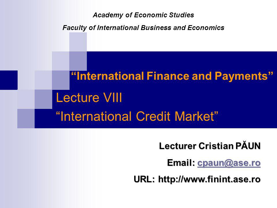 International Finance and Payments
