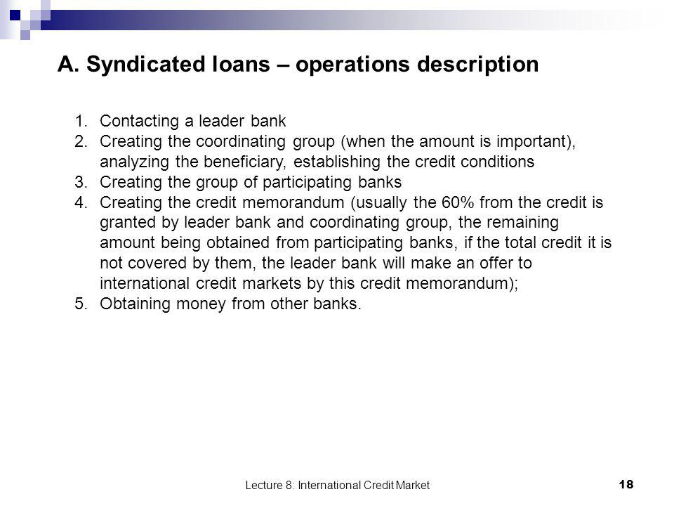A. Syndicated loans – operations description
