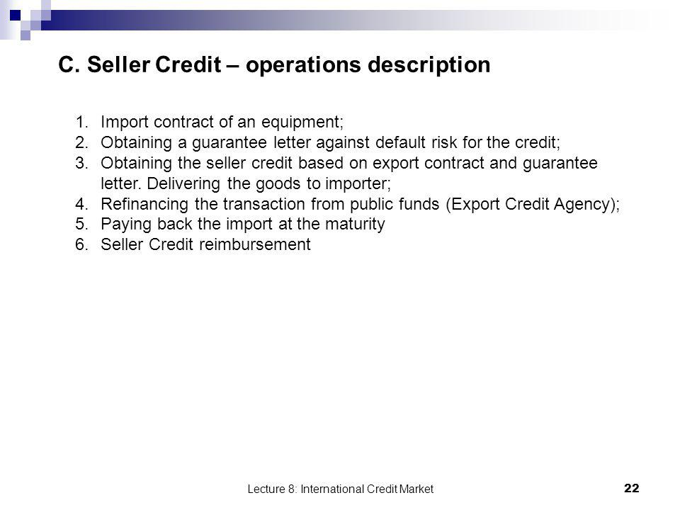 C. Seller Credit – operations description