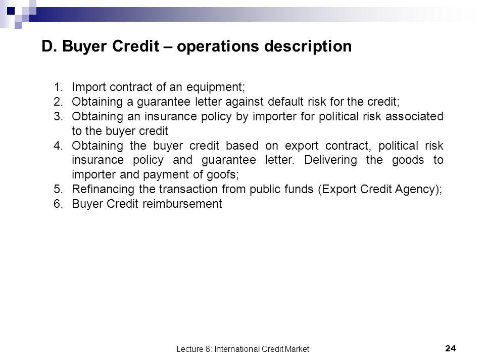 D. Buyer Credit – operations description