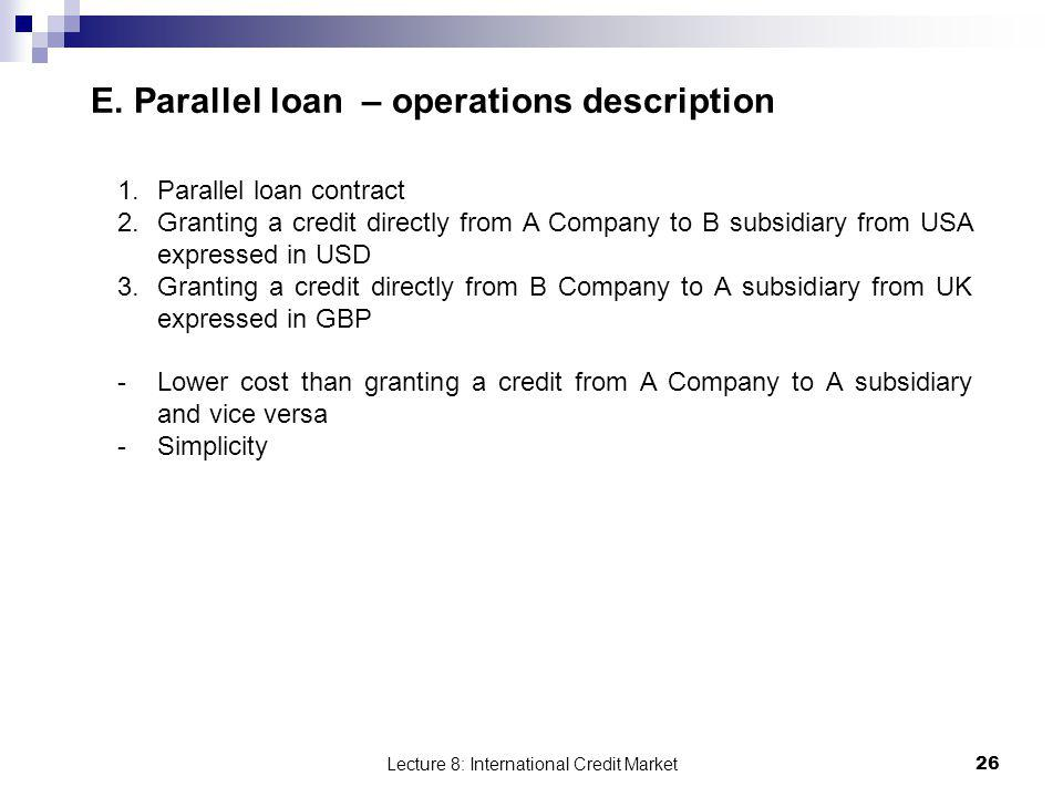E. Parallel loan – operations description