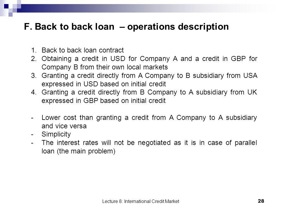 F. Back to back loan – operations description