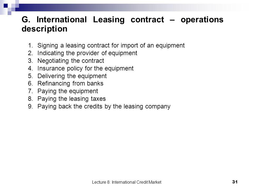G. International Leasing contract – operations description