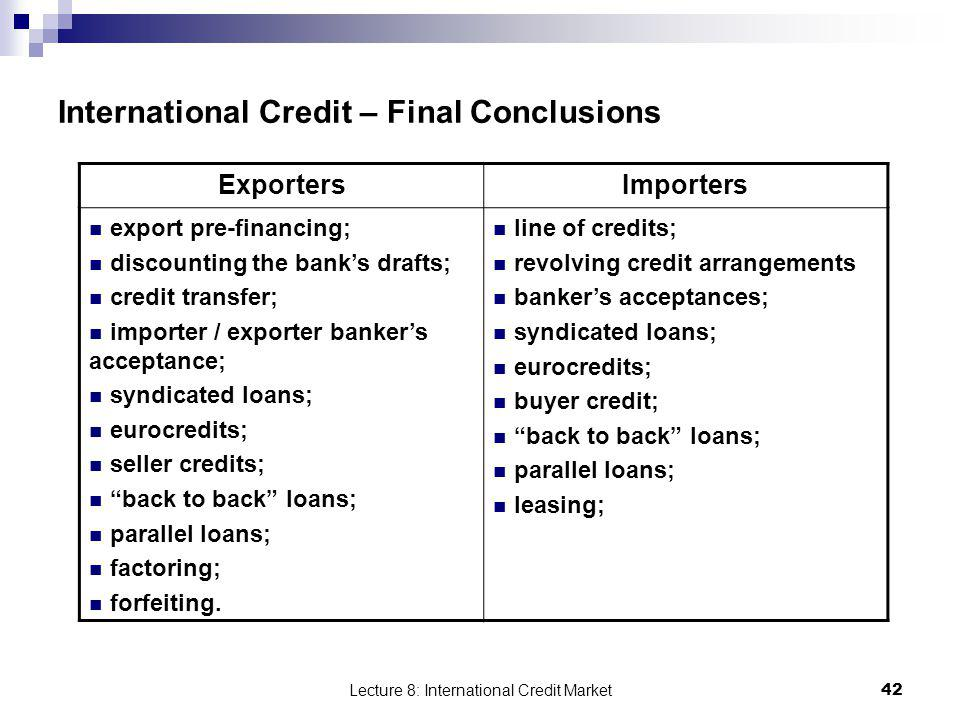 International Credit – Final Conclusions