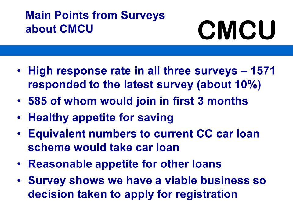 Main Points from Surveys about CMCU