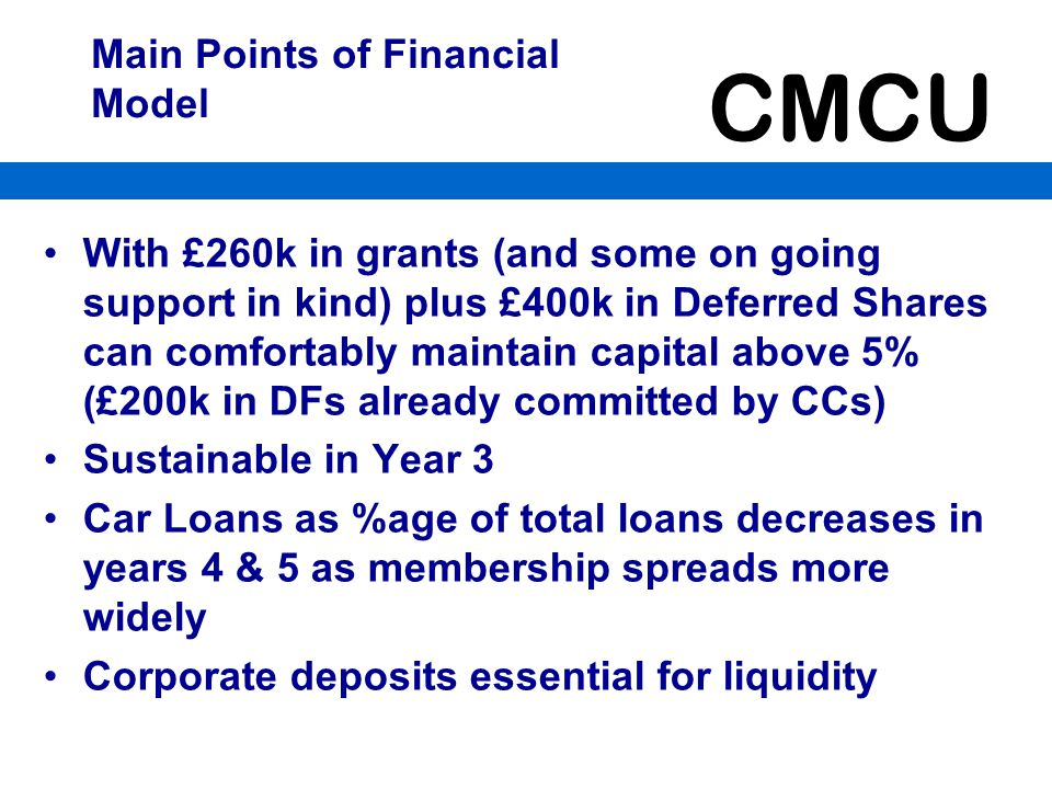 Main Points of Financial Model