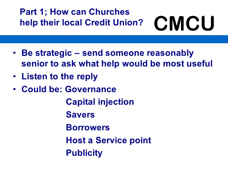 Part 1; How can Churches help their local Credit Union