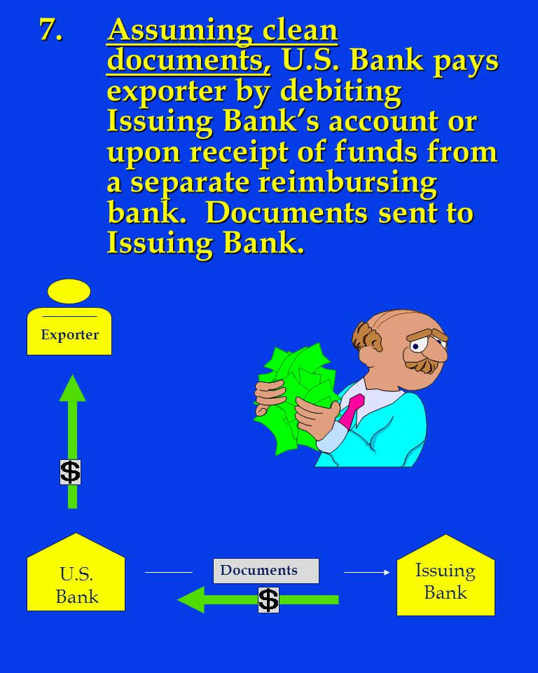 7. Assuming clean. documents, U. S. Bank pays. exporter by debiting