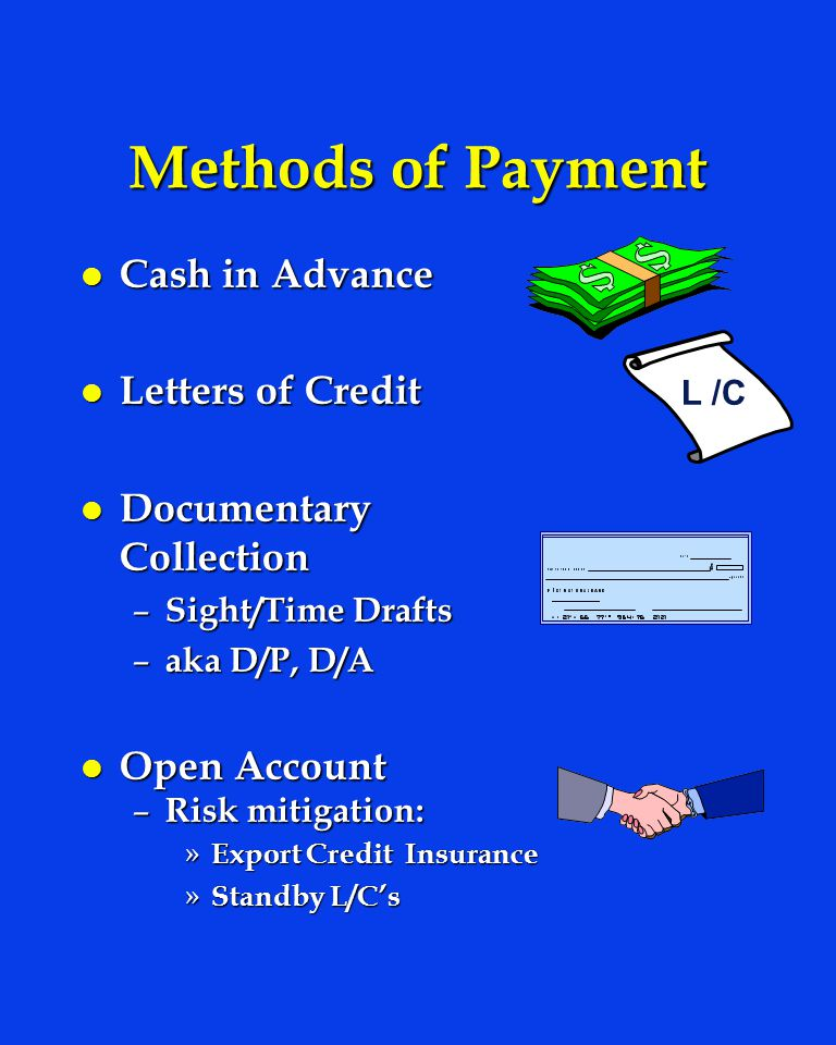 Methods of Payment Cash in Advance Letters of Credit
