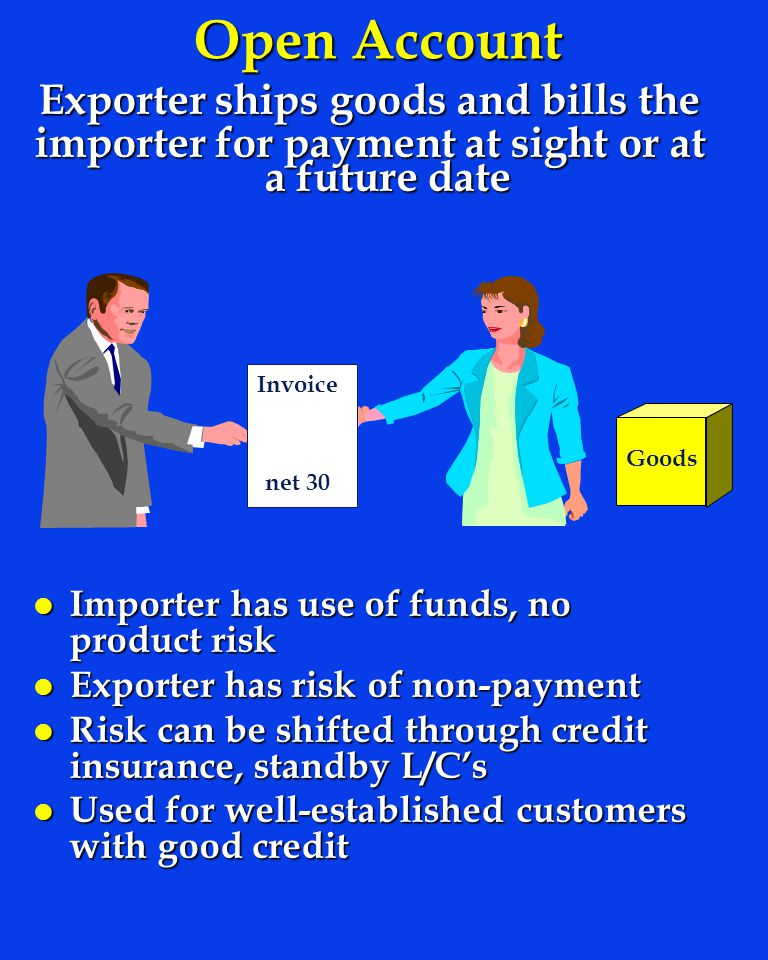 Open Account Exporter ships goods and bills the