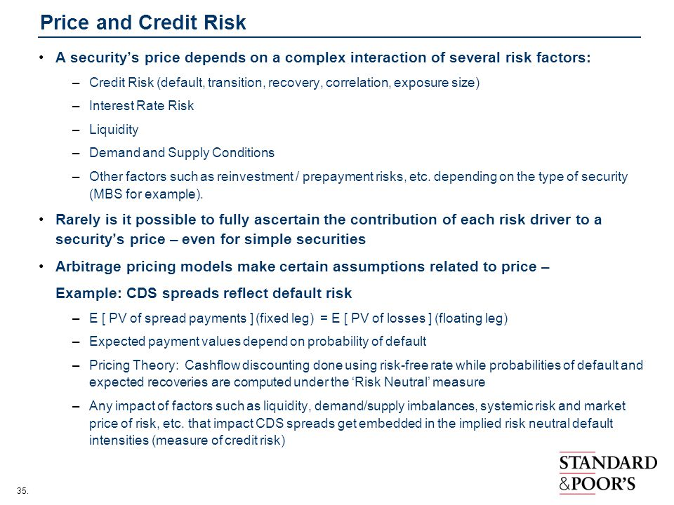 Price and Credit Risk A security's price depends on a complex interaction of several risk factors: