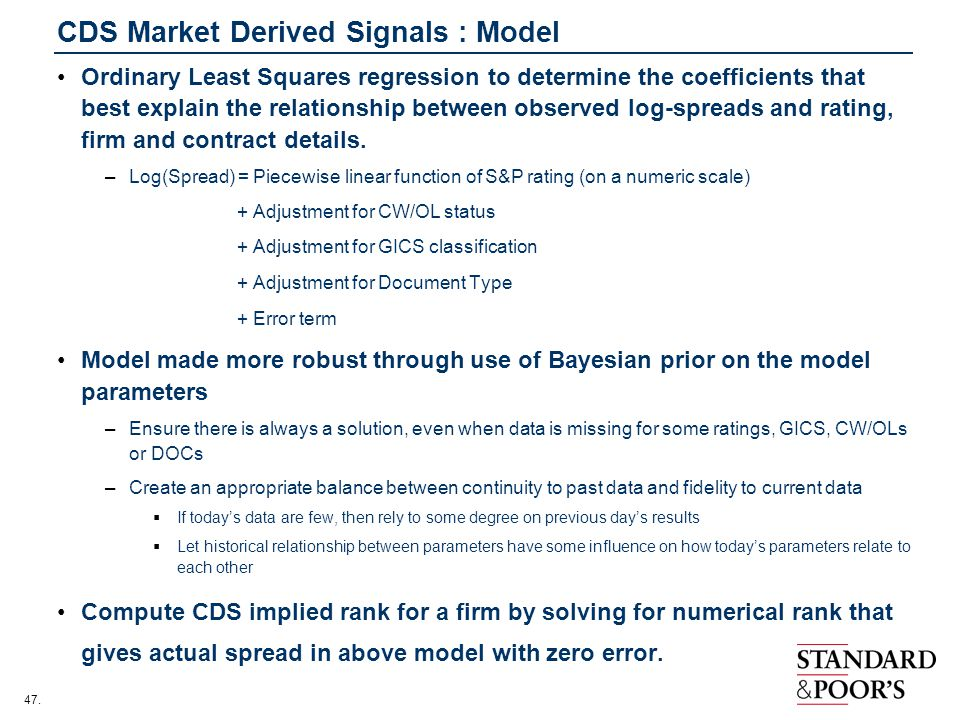 CDS Market Derived Signals : Model