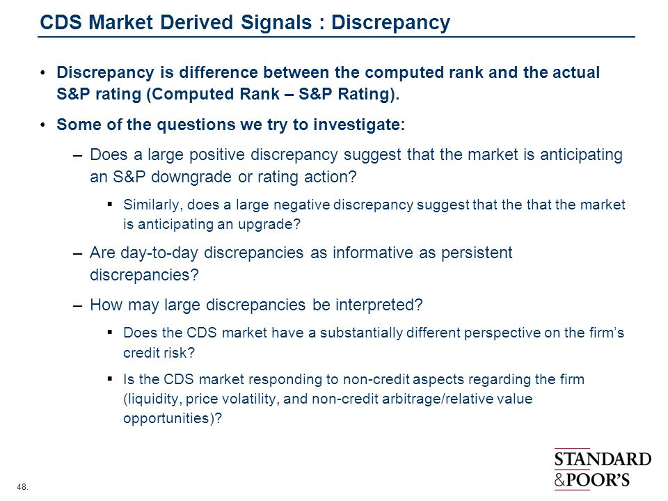 CDS Market Derived Signals : Discrepancy