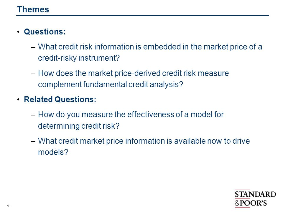 Themes Questions: What credit risk information is embedded in the market price of a credit-risky instrument
