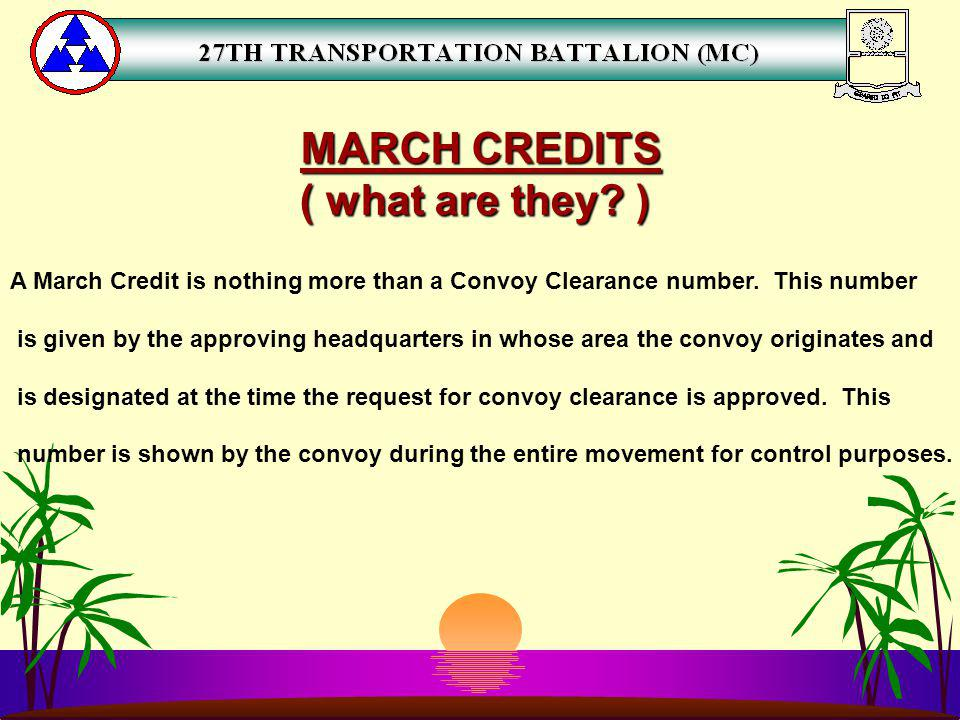 MARCH CREDITS ( what are they )