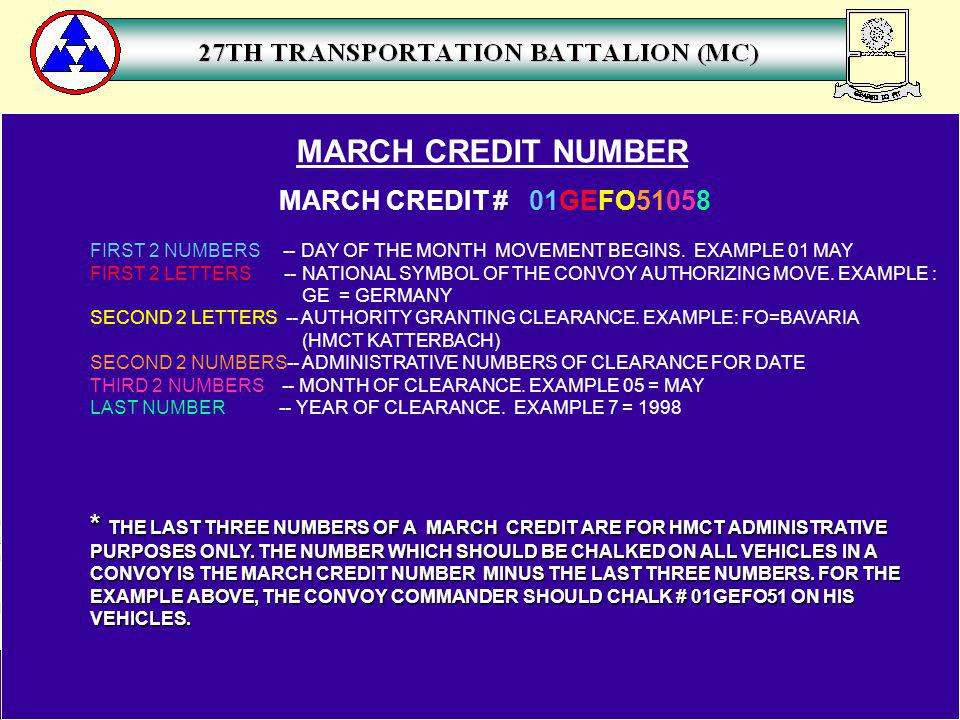 MARCH CREDIT NUMBER MARCH CREDIT # 01GEFO51058