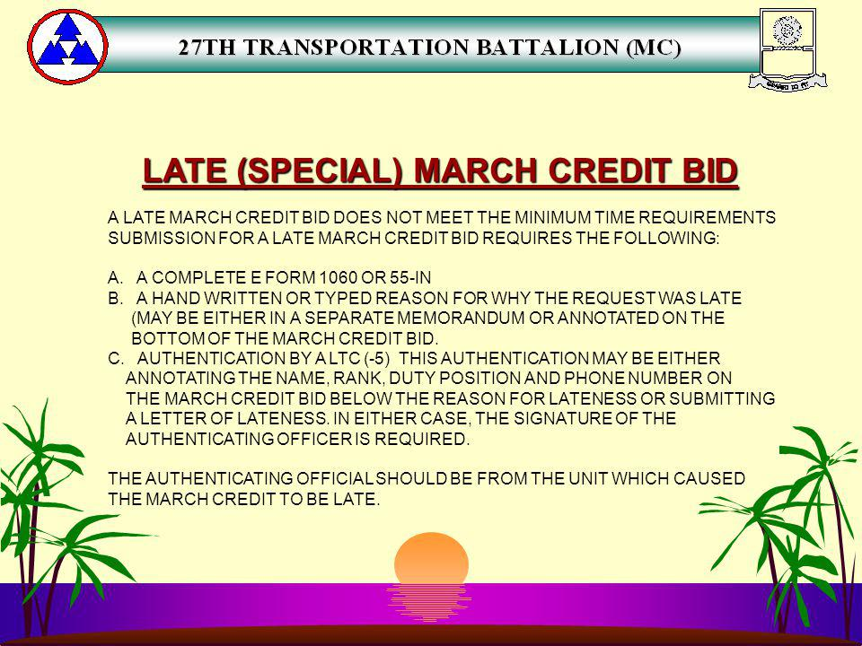 LATE (SPECIAL) MARCH CREDIT BID