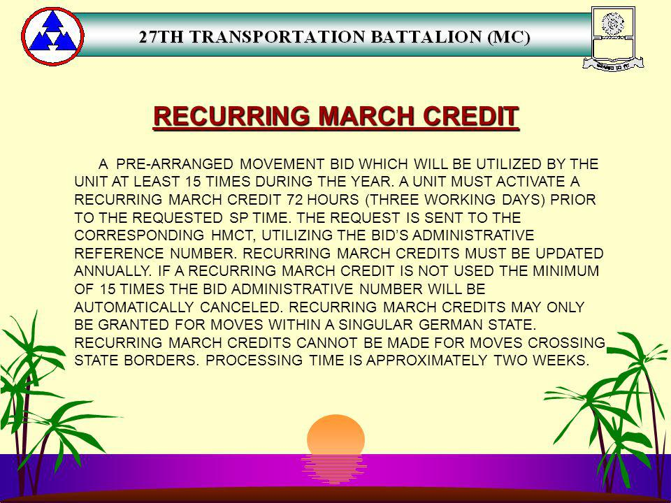 RECURRING MARCH CREDIT