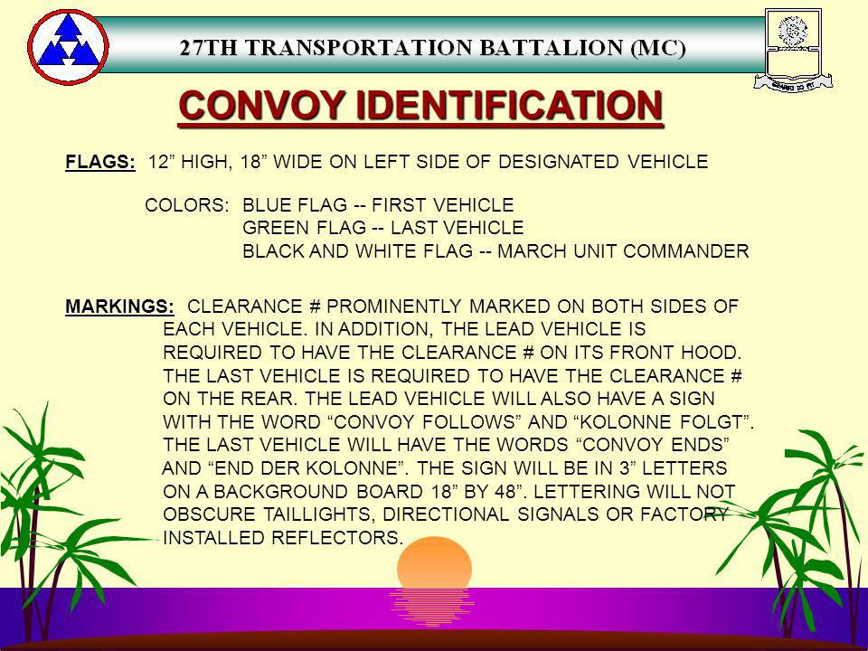 CONVOY IDENTIFICATION