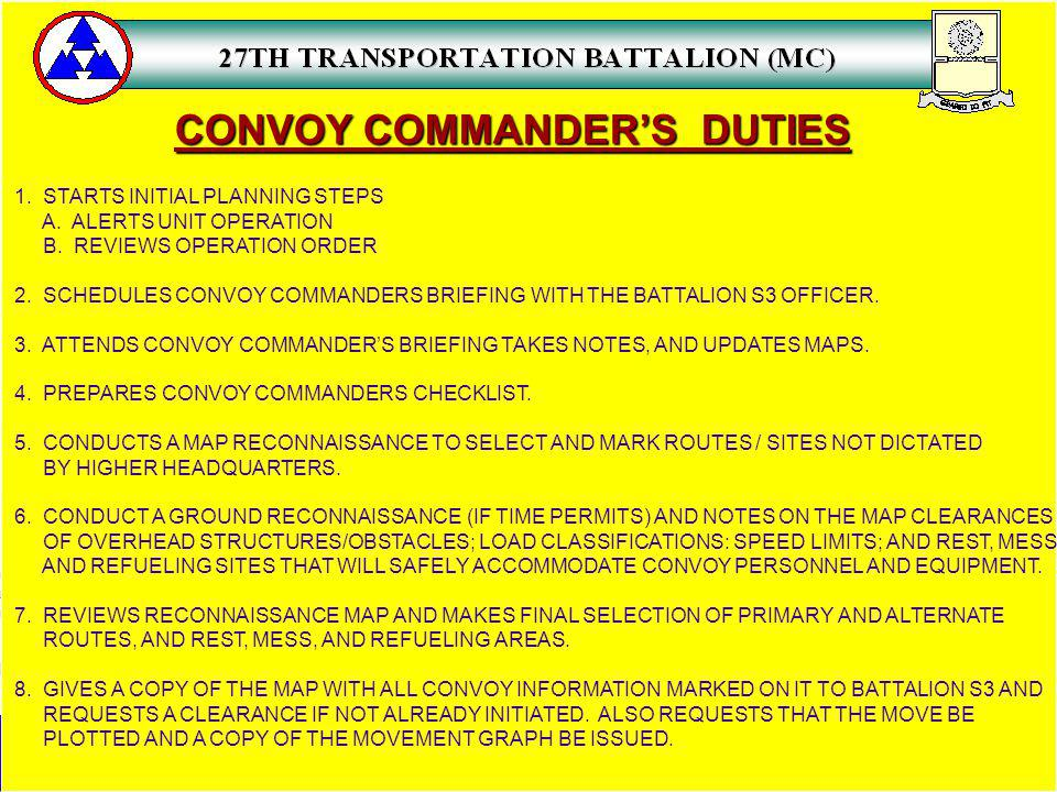 CONVOY COMMANDER'S DUTIES