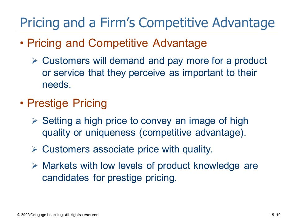 Pricing and a Firm's Competitive Advantage
