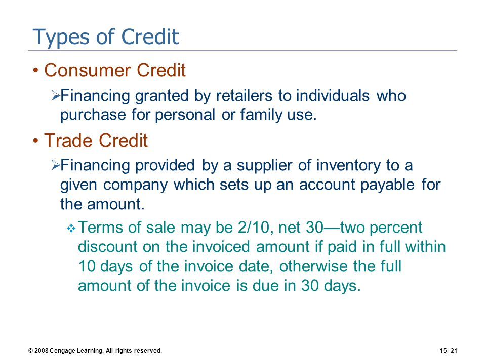 Types of Credit Consumer Credit Trade Credit