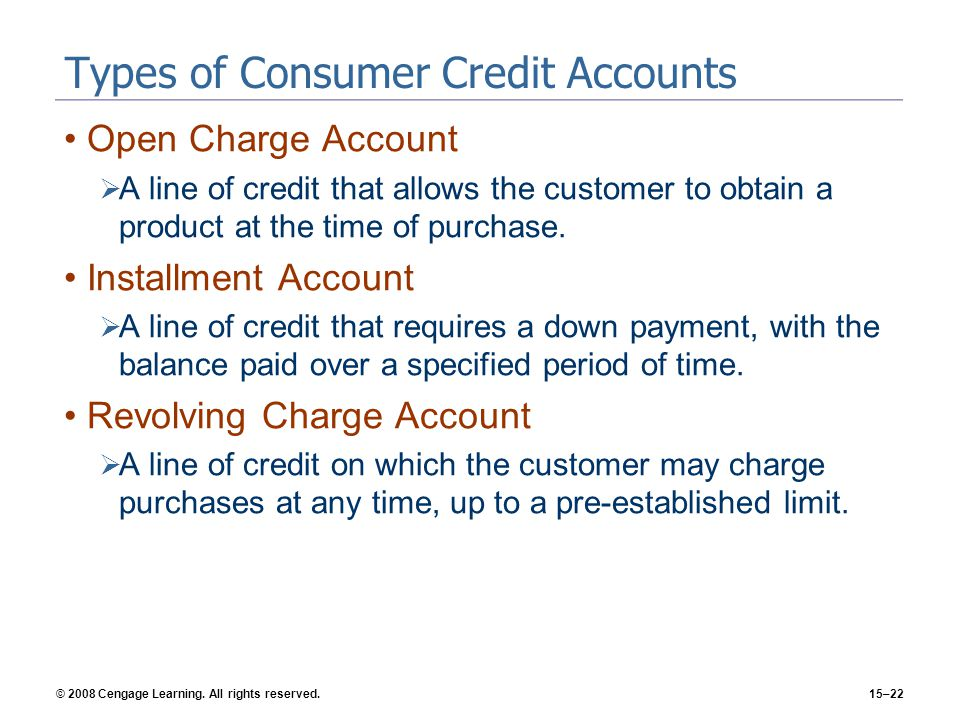 Types of Consumer Credit Accounts
