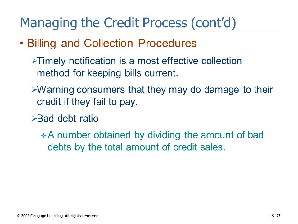 Managing the Credit Process (cont'd)