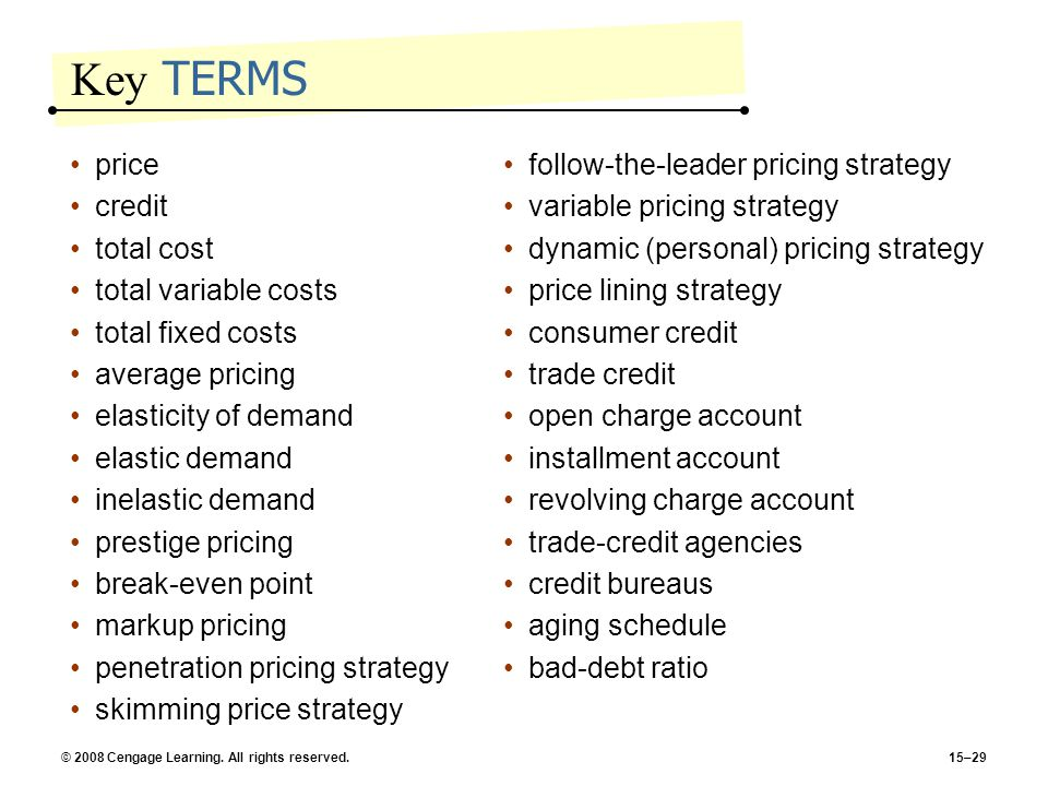 Key TERMS price credit total cost total variable costs