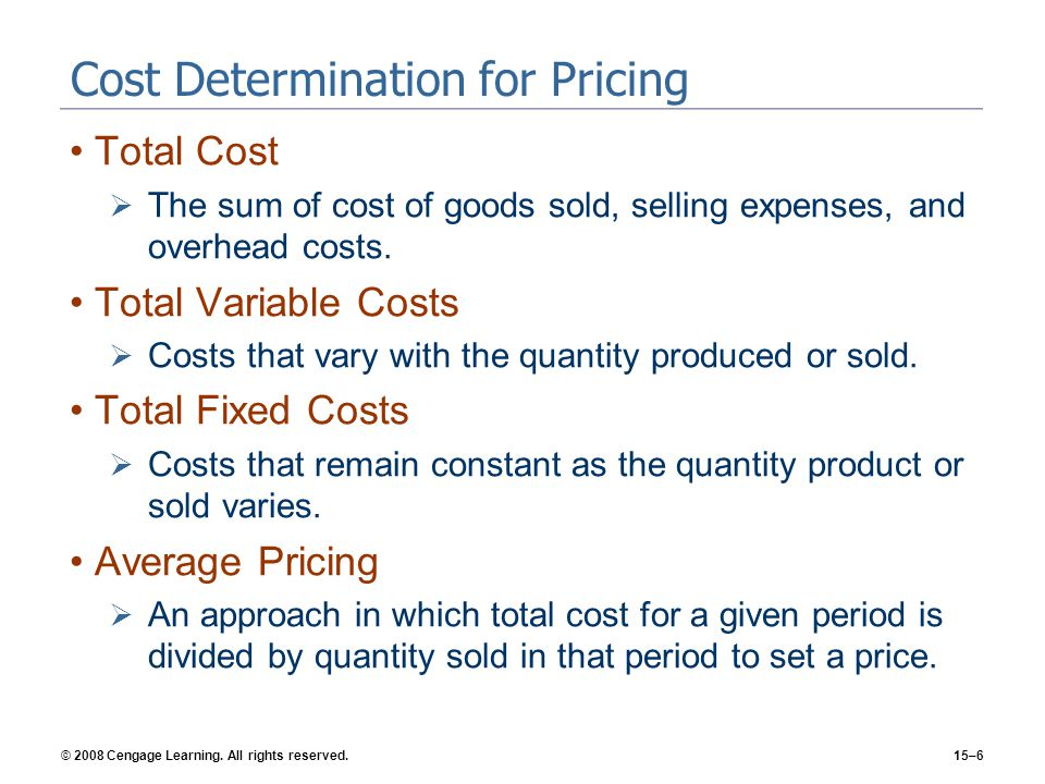 Cost Determination for Pricing
