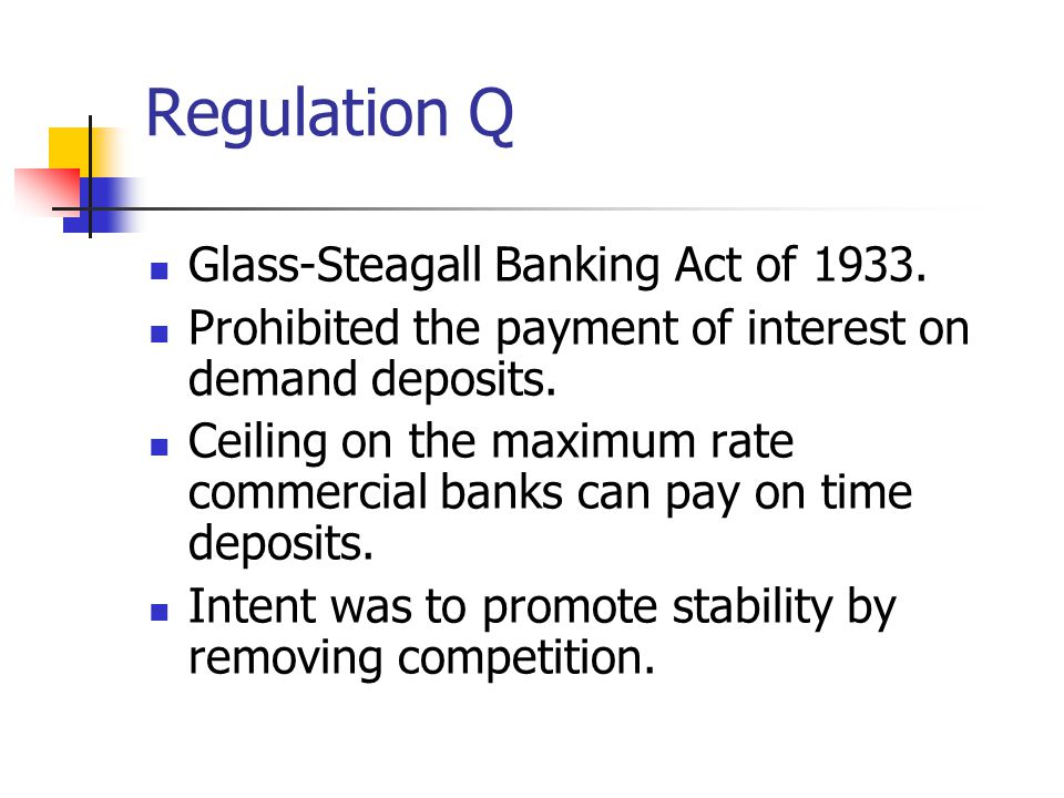 Regulation Q Glass-Steagall Banking Act of 1933.