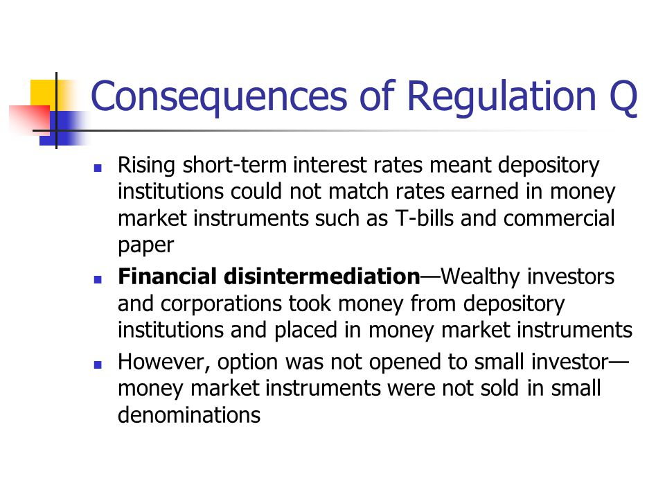 Consequences of Regulation Q