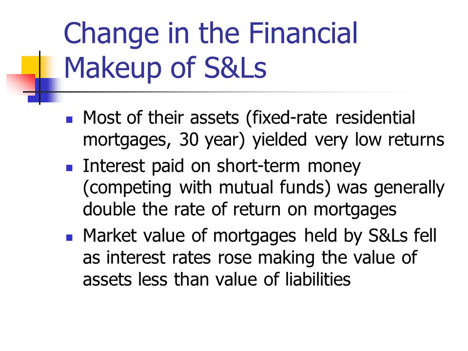 Change in the Financial Makeup of S&Ls