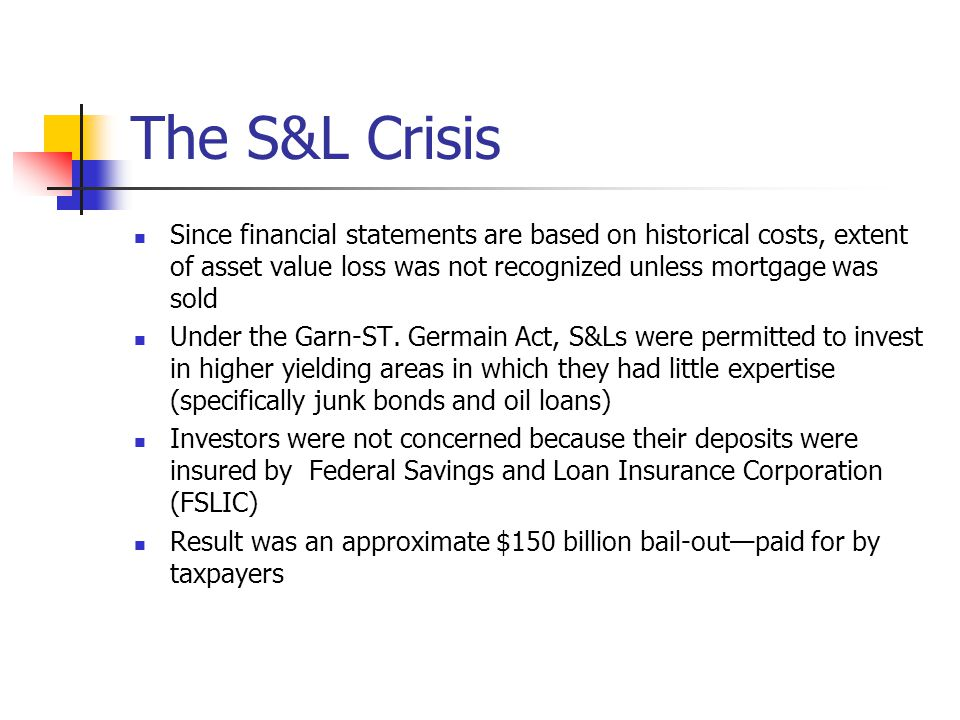 The S&L Crisis Since financial statements are based on historical costs, extent of asset value loss was not recognized unless mortgage was sold.