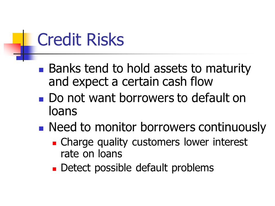 Credit Risks Banks tend to hold assets to maturity and expect a certain cash flow. Do not want borrowers to default on loans.
