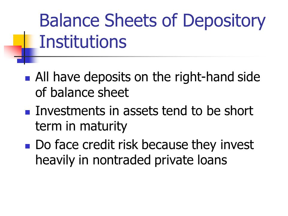 Balance Sheets of Depository Institutions