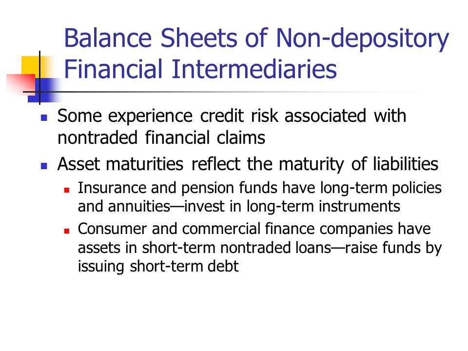 Balance Sheets of Non-depository Financial Intermediaries