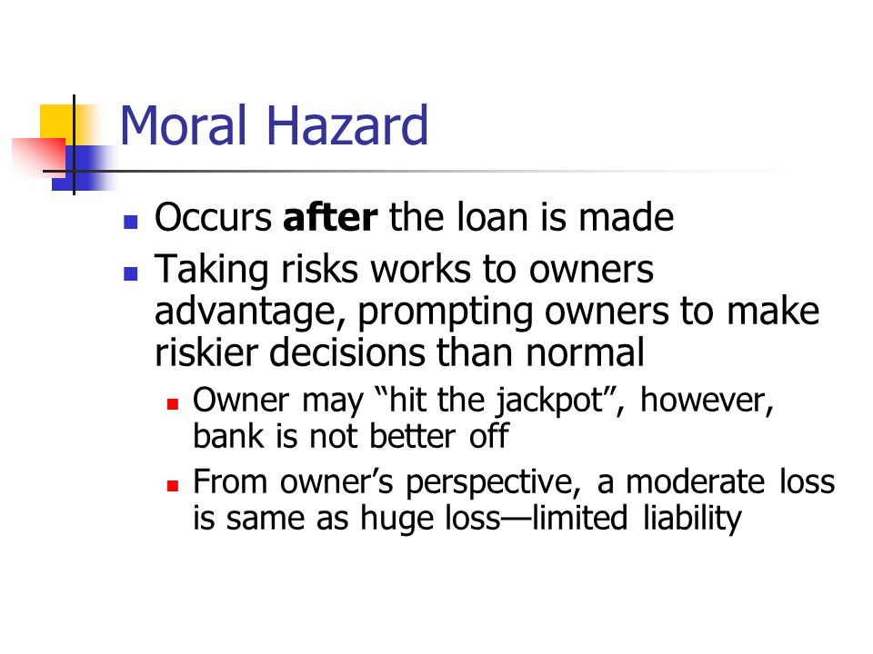 Moral Hazard Occurs after the loan is made