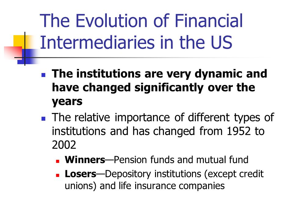 The Evolution of Financial Intermediaries in the US