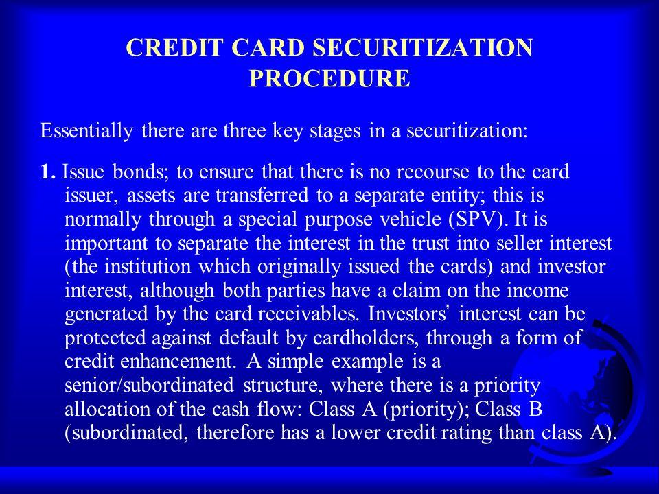 CREDIT CARD SECURITIZATION PROCEDURE