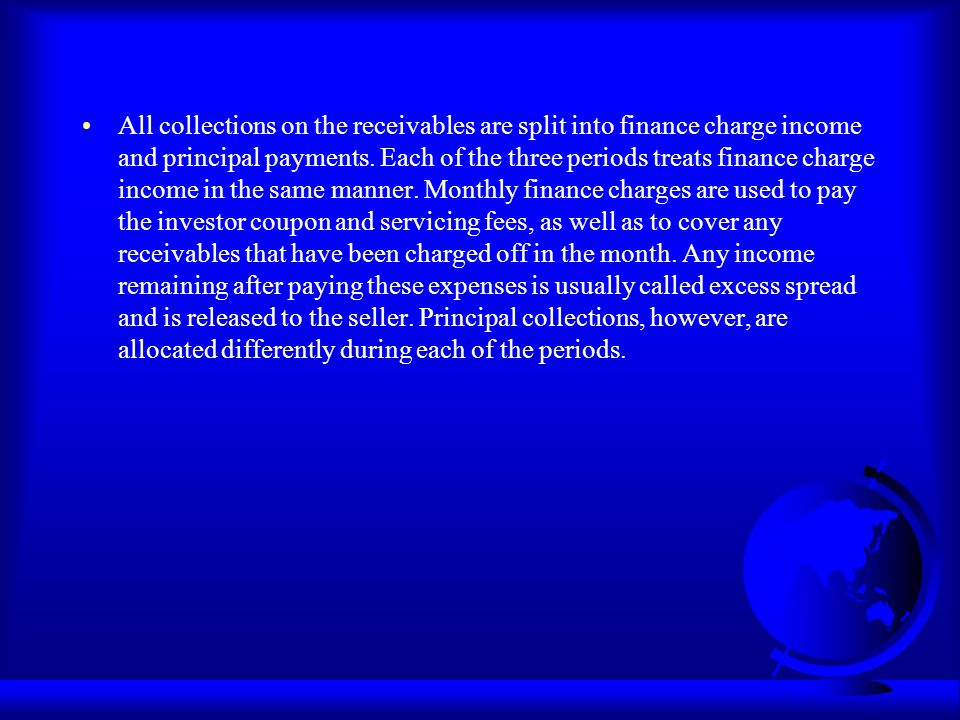 All collections on the receivables are split into finance charge income and principal payments.