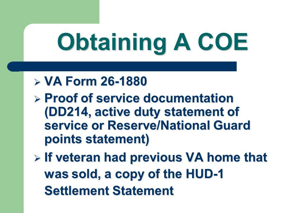 Obtaining A COE VA Form 26-1880