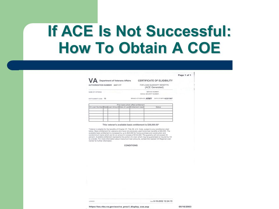 If ACE Is Not Successful: How To Obtain A COE