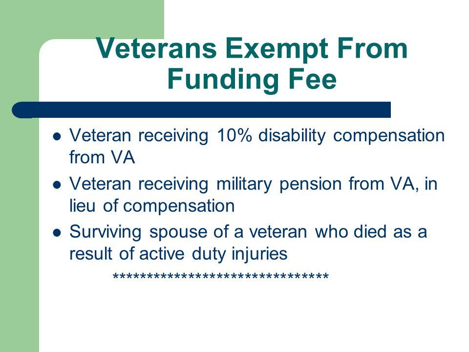Veterans Exempt From Funding Fee