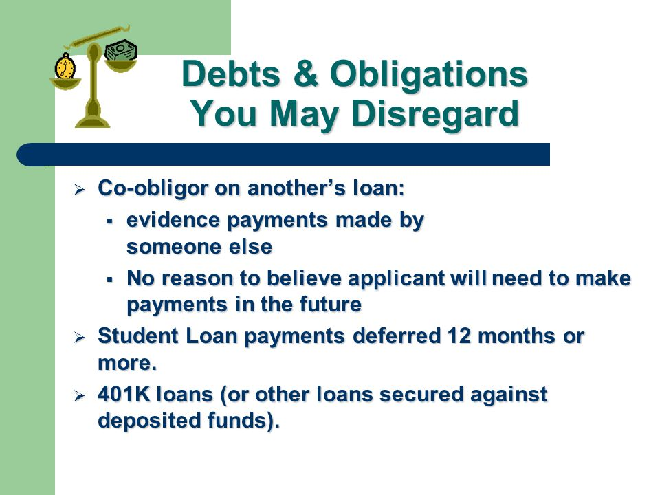Debts & Obligations You May Disregard